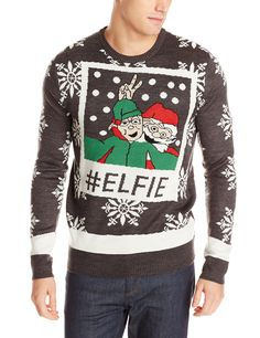 3 Santas Men's Elfie Ugly Christmas Sweater, Grey, Medium: Double jacquard crew neck Christmas sweater with funny Santa image. Best Ugly Christmas Sweater, Christmas Clothes, Christmas Jumpers, Funny Christmas, Christmas 2017, Xmas, Girls Sweaters, Sweaters For Women, Sweater Outfits