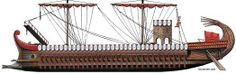 The quinquereme, the brainchild of Dionysius I of Syracuse in 399 BCE as part of a major naval armament program directed against the Carthaginians. They remained the mainstay of the Carthaginian navy and when the Roman Republic, which until then lacked a significant navy, got involved in the First Punic War, the Senate set out to construct a fleet of 100 quinqueremes and 20 triremes. According to Polybius, the Romans seized a shipwrecked Carthaginian Quinquereme and used it as a blueprint.