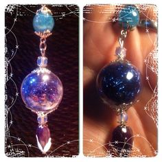 Sunlightcatcher witch ball necklace  The glass ball is filled with angelina fiber that reflect light in a sparkling way that is amazing.