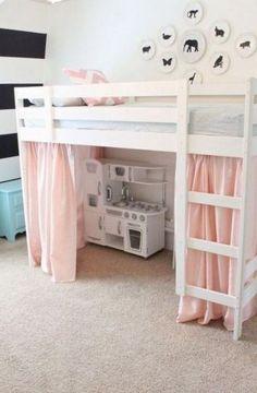 girls loft bed with desk . girls loft bed with slide Mydal Ikea, Diy Bett, Deco Kids, Bunk Bed Designs, Kids Bunk Beds, Girl Loft Beds, Bunk Bed Tent, Girls Bedroom With Loft Bed, Loft Beds For Small Rooms