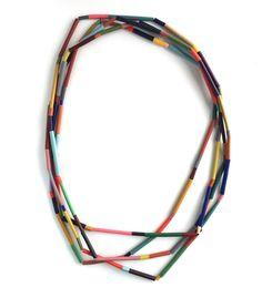 Jewelry Crafts, Jewelry Art, Beaded Jewelry, Jewelry Necklaces, Jewelry Design, Geometric Necklace, Polymer Clay Beads, Lariat Necklace, Contemporary Jewellery