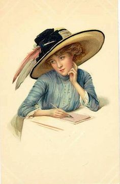 Trendy Ideas For Painting Woman Hat Victorian Ladies Vintage Abbildungen, Vintage Girls, Vintage Postcards, Vintage Prints, Victorian Art, Victorian Women, Edwardian Fashion, Vintage Valentines, Up Girl