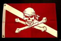 "Pirate flag Diver Down Red 12x18"" atv boat spearfishing scuba diving equip #520 #FlappinFlags shop.sundancedivers.com"