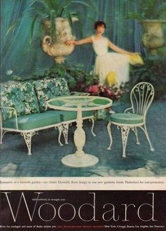 This is an original 1949 print ad for Woodard wrought iron furniture! If you've seen print ads used in set decoration for TV shows or films, you've likely seen our ads. Vintage Outdoor Furniture, Lawn Furniture, Rustic Furniture, Painted Furniture, Furniture Ideas, Furniture Design, Vintage Advertisements, Vintage Ads, Vintage Decor