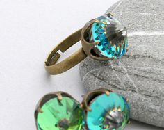 SALE Minecraft Ring & Earrings Set - Swarovski Princess Crown Ring - Minecraft Diamond - Minecraft Earrings - Minecraft Gem