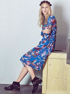 Owl and Flower Print Midi Dress    Yumi