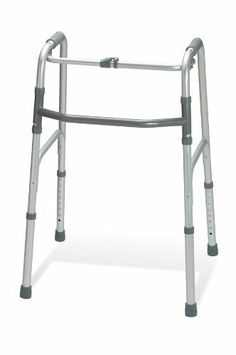 """Walker, 1 Button by Medline. $97.49. One Button Folding Walker: One button folding offers quick, convenient operation and is ideal for those who are weaker on one side. Lightweight aluminum frame supports up to 300lbs. yet weighs only 5lbs. Folds to 4.5"""" for ease of transport and storage. Adult.Model: G30760P"""