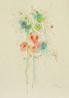 China born, now Canadian artist Yangyang Pan's lovely mixed media Blossom series.