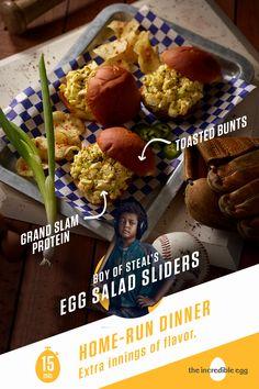 Boy of Steal's Green Chile Egg Salad Sliders Egg Recipes, Mexican Food Recipes, Salad Recipes, Snack Recipes, Cooking Recipes, Healthy Recipes, Snacks, Slider Recipes, Egg Salad