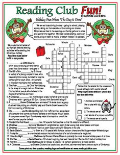 During the holidays we gather in the evenings to relax and spend time together. Learn about the popular T.V. specials, poems, stories, books, and music that we enjoy during Christmas and these holiday times with this crossword puzzle!