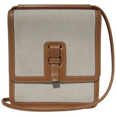 Hermes Toile and Leather Cross Body Bag Canvas RARE 1
