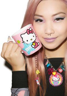 Hello Kitty Stars Ceramic Mug Heart Print, Hello Kitty, Ceramics, Mugs, Stars, Ceramica, Pottery, Tumblers, Sterne
