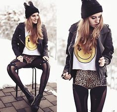 cat beanie..lookbook.nu...badass outfit