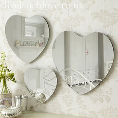 Set of 3 Heart Mirror Wall Plaques Shabby Chic Mirror, Shabby Chic Gifts, Shabby Chic Style, Heart Mirror, Round Wall Mirror, Mirror Mirror, Shabby Chic Accessories, Mr Price Home, Vintage Mirrors