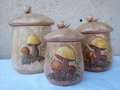 Mushroom Kitchen Canister Set  Retro by GodSaveStrawberryJam. , via Etsy.