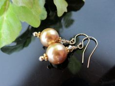 Swarovski Bright Gold Large Pearl Earrings with 14 by IBKcreations, $12.00