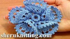 Crochet Fiore 3D Con Piegato Petali Tutorial 63 parte 1 di 2