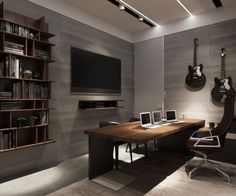 Media room with guitars - Ukrainian bachelor pad