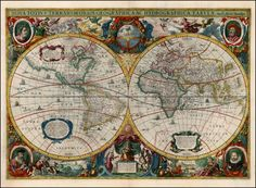 """Nova Totius Terrarum Orbis Geographica Ac Hydrographica Tabula"", which means ""New Geographical and Hydrographic Map of the Whole World"" First issued in the 1630 edition of the Mercator-Hondius Atlas, it is one of the most beautiful maps of the..."