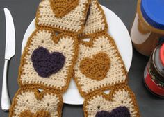 Crocheted Peanut Butter 'n Jelly Scarf, I Love PB&J, Great for Gifts, Foodies, Teens, Unique, Conversation Starter