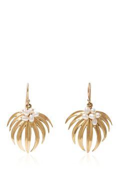 Curled Palm Leaf Earrings by ANNETTE FERDINANDSEN Now Available on Moda Operandi
