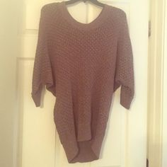 Express sweater with gold sparkles! Like new- worn a couple times, great condition! Wide short sleeves with fitted bottom. Super comfortable and great for fall/winter! Gold sparkles in the brown! Express Sweaters