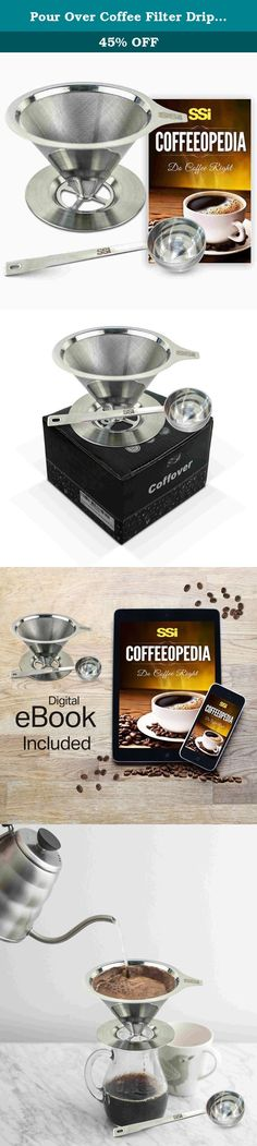 The 222 best reusable filters coffee filters coffee machine pour over coffee filter dripper kit with 2 tablespoon scoop all stainless steel permanent cone fandeluxe Image collections