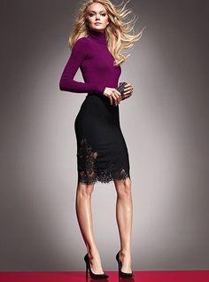 Victoria s Secret Lace Trim Black Pencil Skirt
