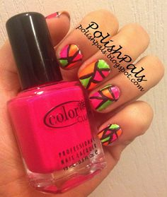 Stained Glass Nails -- Learn how to make these neon nails here!