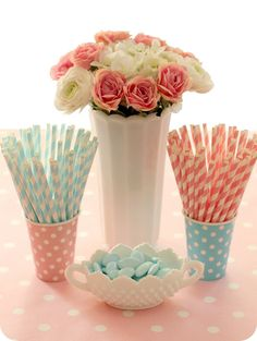 stripey straws, milk glass, polka dots, perfect colors = lovely spring party ideas!