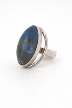 N E From, Denmark - vintage modernist silver & lapis large dome ring