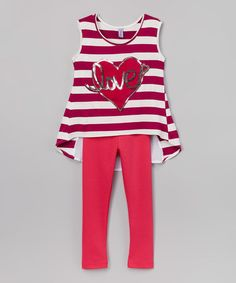 Another great find on #zulily! Magenta Heart 'Love' Stripe Tunic & Leggings - Kids & Tween #zulilyfinds