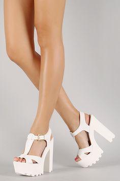 efad4835399 Wild Diva Lounge Two-Tone Leatherette Ankle Strap Lug Sole Platform ...