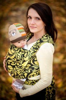 Baby Wrap, Jacquard Weave (100% cotton) - Twisted Leaves Black & Yellow- size XS - LennyLamb.com