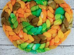 Apple Jacks - Hand dyed 21 Micron Merino combed top. Good for spinning yarn, felting, blending & weaving.