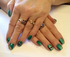 St. Patrick's Day gel nails by The Henhouse in Cochrane Alberta Canada 403-932-4640.