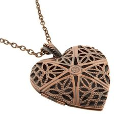 1.5″ Bronze Filigree Heart Shaped Locket Pendant Necklace With 28″ Chain
