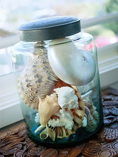 Pote de vidro para a coleção de conchas