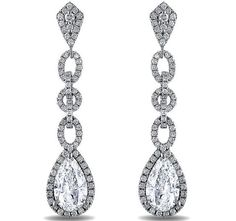 Pear Shape Diamond Halo Dangling Earrings 2.96 Carat TW