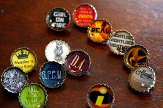 make resin bottlecap pins (or push pins?) - site includes downloadable graphics files with harry potter and hunger games references
