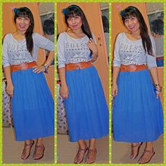 Top by guess,skirt by spalsh,sandal by primadonna,accessories by forever 21