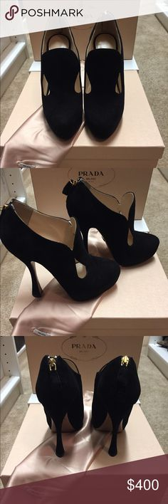 Prada suede closed toe bootie Prada black suede closed toed bootie with back ankle zip. Classic style Prada heel comes with box and duster bag. Excellent condition. Prada Shoes Ankle Boots & Booties
