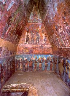 Tomb Mural  --  Circa 500-800 CE  --  Excavated at the Mayan Archaeological site of Bonampak  --  Chiapas, Mexico