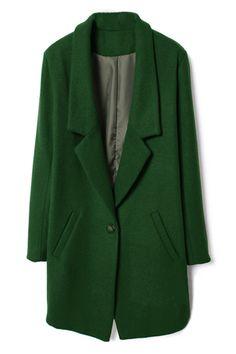 Single Buttoned Green Woolen Coat