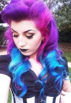 Purple blue ombre dyed hair