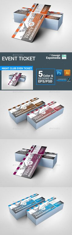 Event Ticket — Photoshop PSD #three color #party ticket • Available here → https://graphicriver.net/item/event-ticket/13853755?ref=pxcr