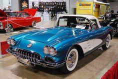 image of 1958 corvette   1958 Corvette, Blue w/white coves   Flickr - Photo Sharing! #chevroletcorvette1958