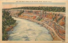 Niagara Falls New York~Great Gorge on the River~1940s Vintage Linen Postcard