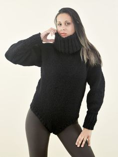 Hand Knitted Wool Bodysuit BLACK Turtleneck Sweater Catsuit by EXTRAVAGANTZA #EXTRAVAGANTZA #CATSUITBODYSUIT