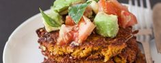 Easy (and Gorgeous!) Sweet Potato Fritters With Avocado Salsa Recipe | Greatist